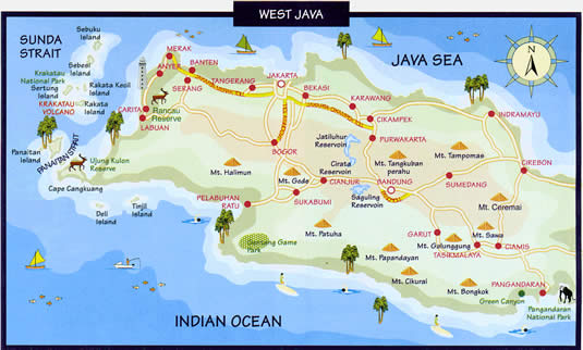 map of java. A West Java recreation map